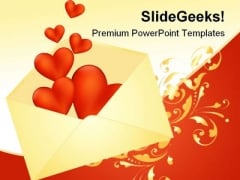 Heart Envelope Wedding PowerPoint Template 0610