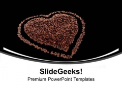 Heart From Coffee Beans Romantic Love PowerPoint Templates Ppt Backgrounds For Slides 0313