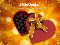 Heart Gift Box Ful Of Chocolates February PowerPoint Templates Ppt Backgrounds For Slides 0213