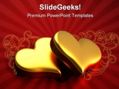 Heart Of Gold Beauty PowerPoint Backgrounds And Templates 0111