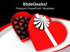 Heart Shaped Chocolate For Gifiting PowerPoint Templates Ppt Backgrounds For Slides 0713