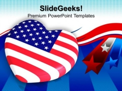 Heart Shaped Flag Americana PowerPoint Templates And PowerPoint Themes 0812