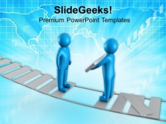 Helping To Cross Bridge Business Concept PowerPoint Templates Ppt Backgrounds For Slides 0713