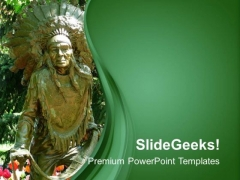 Historical Statue With Green Background PowerPoint Templates Ppt Backgrounds For Slides 0613