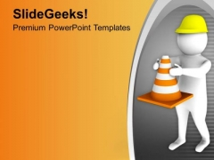 Hold The Safety Triangle PowerPoint Templates Ppt Backgrounds For Slides 0713