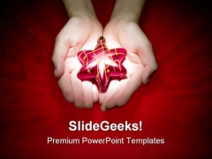 Holding Star Christmas PowerPoint Templates And PowerPoint Backgrounds 0511