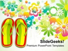 Holidays Time At Beach With Colorful Slippers PowerPoint Templates Ppt Backgrounds For Slides 0313