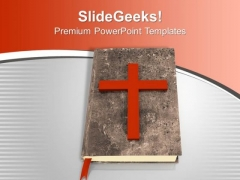 Holy Bible And A Cross Ancient Guidance PowerPoint Templates Ppt Backgrounds For Slides 1212