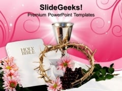 Holy Bible With Crown Christian PowerPoint Templates And PowerPoint Themes 0812