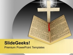 Holy Bible With Shining Cross Faith Object PowerPoint Templates Ppt Backgrounds For Slides 1212