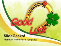 Horseshoe And Lady Bug With Good Luck PowerPoint Templates Ppt Backgrounds For Slides 0313