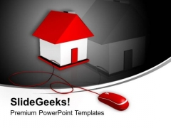 House Connected To A Computer Mouse PowerPoint Templates Ppt Backgrounds For Slides 0213