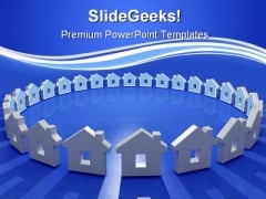 House In Circle Real Estate PowerPoint Templates And PowerPoint Backgrounds 0611