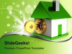 House Locked With Golden Key Security PowerPoint Templates Ppt Backgrounds For Slides 0113