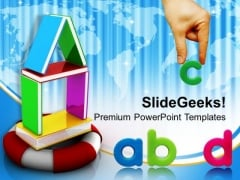 House Made Of Books On Lifeline Future PowerPoint Templates And PowerPoint Themes 1112