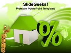 House Model With Percent Sign Finance PowerPoint Templates And PowerPoint Themes 0912
