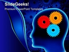 Human Brain With Gears Industrial PowerPoint Templates And PowerPoint Backgrounds 0411