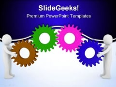 Human Holding Gear Business PowerPoint Templates And PowerPoint Backgrounds 0311