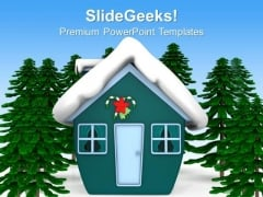 Hut Covered With Snow Winters PowerPoint Templates Ppt Backgrounds For Slides 1212