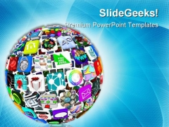 Icons In A Sphere Globe PowerPoint Themes And PowerPoint Slides 0211
