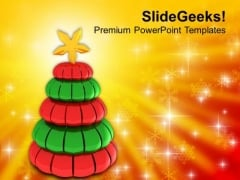 Illustration Of Glossy Christmas Tree Festival PowerPoint Templates Ppt Backgrounds For Slides 0413