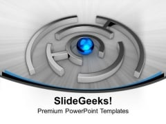 Image Of Blue Ball In Labyrinth PowerPoint Templates Ppt Backgrounds For Slides 0213