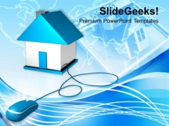 Image Of Computer Mouse Connected To House PowerPoint Templates Ppt Backgrounds For Slides 0113