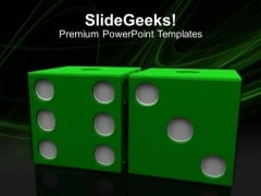 Image Of Green Dices On Grey Backgrounds PowerPoint Templates Ppt Backgrounds For Slides 0213