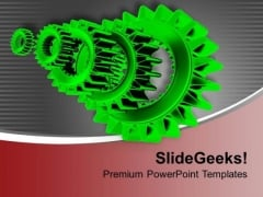 Image Of Green Metal Gears PowerPoint Templates Ppt Backgrounds For Slides 0713