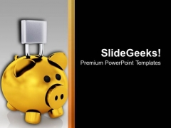 Image Of Locked Piggy Bank PowerPoint Templates Ppt Backgrounds For Slides 0213