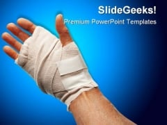 Injured Hand Medical PowerPoint Templates And PowerPoint Backgrounds 0411