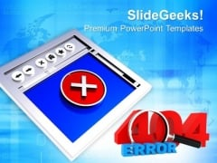 Internet Browser With 404 Error Symbol PowerPoint Templates Ppt Backgrounds For Slides 0113