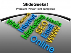 Internet Marketing Related Words Communication PowerPoint Templates Ppt Backgrounds For Slides 0513