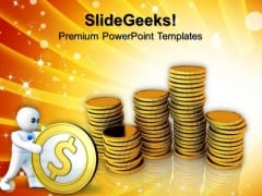 Investment Of Golden Coins Finance PowerPoint Templates And PowerPoint Themes 0912