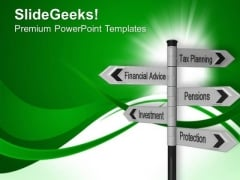 Investment Plans Future Signpost PowerPoint Templates Ppt Backgrounds For Slides 0213