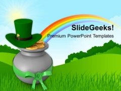 Irish Leprechaun Hat And Pot Of Gold Coins PowerPoint Templates Ppt Backgrounds For Slides 0313