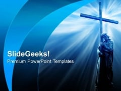 Jesus Holding A Cross Chruch PowerPoint Templates And PowerPoint Themes 0812