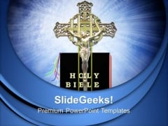 Jesus On Cross With Bible Church PowerPoint Templates And PowerPoint Themes 0812