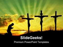 Jesus Pray Religion PowerPoint Template 0610