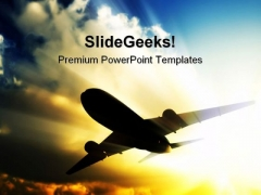 Jet Plane Transportation PowerPoint Template 0610