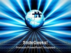 Jigsaw Globe With Puzzle Business PowerPoint Backgrounds And Templates 1210