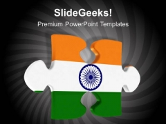 Jigsaw Puzzle Piece With Indian Flag Symbol PowerPoint Templates Ppt Background For Slides 1112