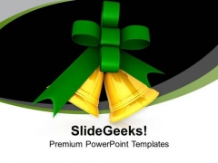 Jingle Bells With Green Bow For Christmas PowerPoint Templates Ppt Backgrounds For Slides 0713