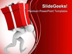 Joe Carrying Gift Christmas PowerPoint Templates And PowerPoint Backgrounds 0311