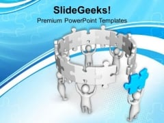 Join The Last Piece To Complete Task PowerPoint Templates Ppt Backgrounds For Slides 0513