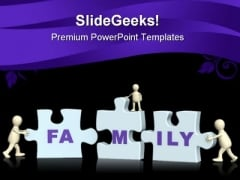Joining Puzzle Family PowerPoint Templates And PowerPoint Backgrounds 0511