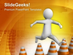 Jump Over The Traffic Cones PowerPoint Templates Ppt Backgrounds For Slides 0713