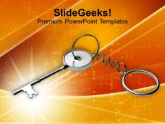 Key Chain Over Bright Colorful Background PowerPoint Templates Ppt Backgrounds For Slides 0113