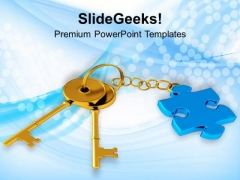 Key Chain With Puzzle Piece Business Solution PowerPoint Templates Ppt Backgrounds For Slides 1212