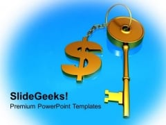 Key Chained To Dollar Success PowerPoint Templates Ppt Backgrounds For Slides 1212